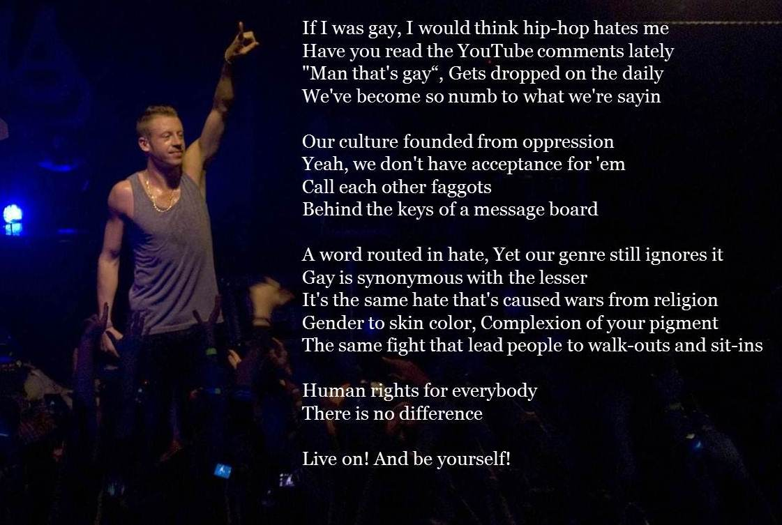 """the issue of homosexuality in same love a song by macklemore and ryan lewis Macklemore and ryan lewis' """"same love  the main point of the song is that homosexuality is the """"same"""" kind of love as heterosexuality,."""