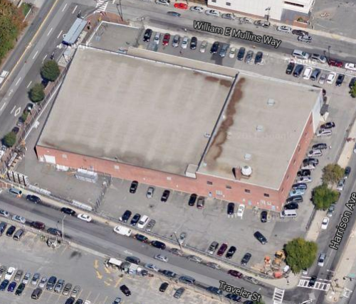 The site for 345 Harrison Avenue, formerly home to commercial space owned by Greybar