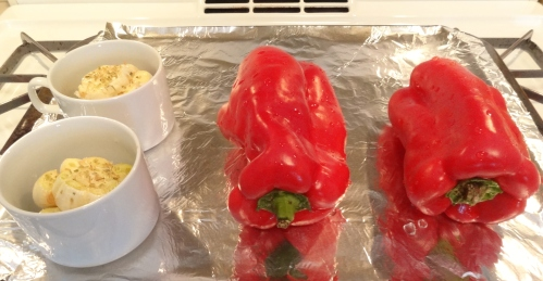 roasting garlic and red bell peppers