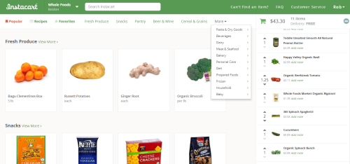 Instacart User Interface