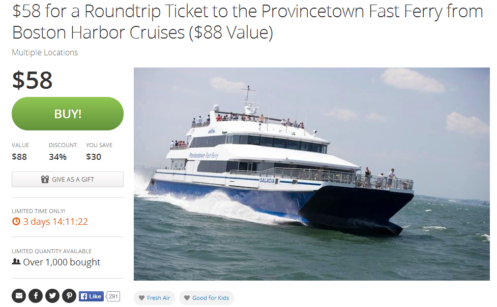 provincetown ferry groupon