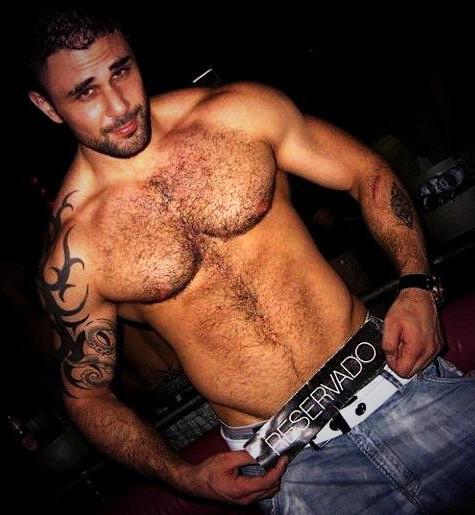 hairy, hunk, shirtless guy