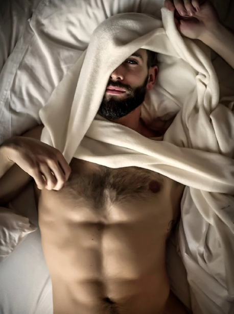 man in bed, handsome, hunk