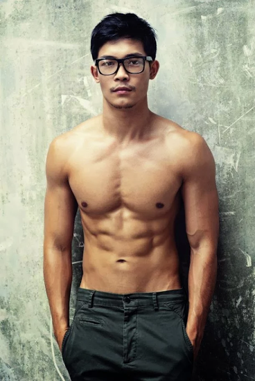 handsome asian, shirtless guy