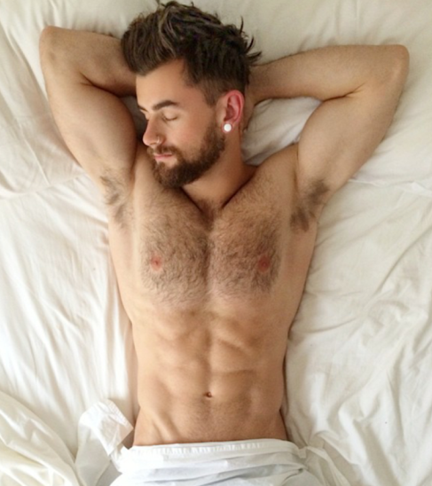 hipster, handsome, hunk, man in bed