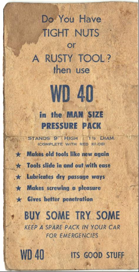 WD 40 ad, humor, innuendo
