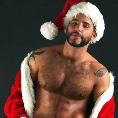 Gay, hairy chest, hunk, naughty Santa