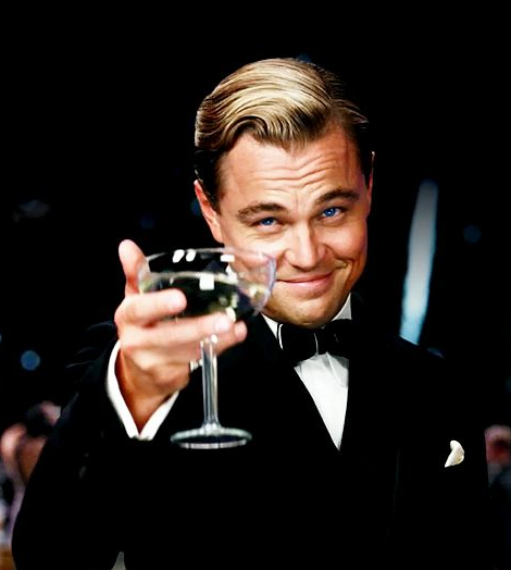 Leonardo DiCaprio, New Years, toast, champagne