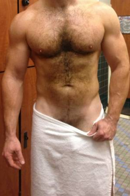 Hairy chest, handsome, hunk, gym, locker