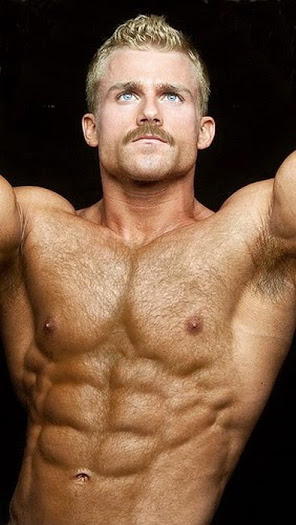 handsome, hunk, shirtless guy, moustache