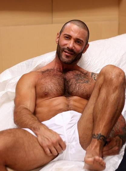 handsome, hunk, shirtless, man in bed