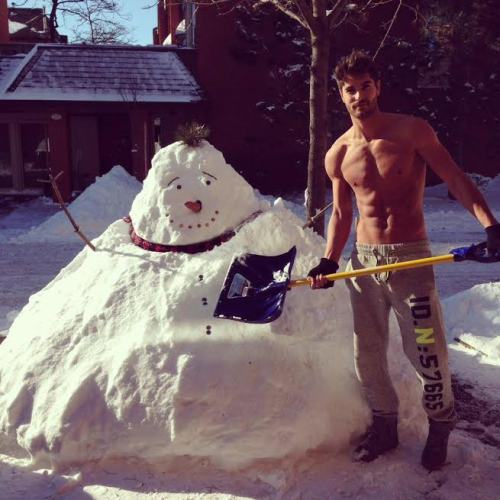 snow, handsome, hunk, snowman, shirtless guy, winter