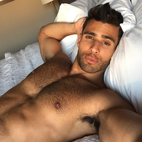 handsome, hunk, man in bed, shirtless, gay