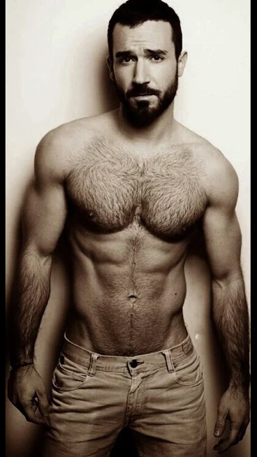 handsome, hunk, shirtless guy, pecs, abs, beard