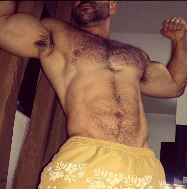 hairy chest, handsome, hunk, yellow, torso, abs, muscle