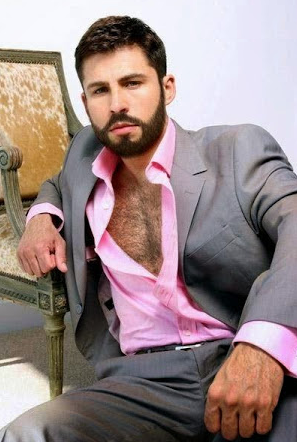 handsome, hairy chest, hunk, beard