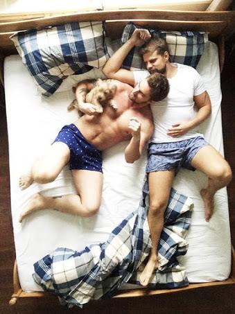 handsome, couple in bed, underwear