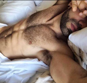 sexy guy in bed, beard, chest, hairy
