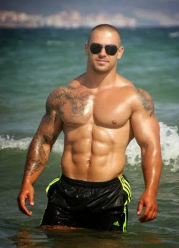 handsome, hunk, shirtless, tattoos, abs, pecs, muscles