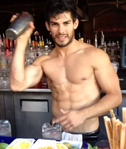 travel, tipping, handsome, hunk, shirtless, abs, beard
