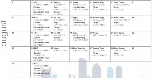 Boston Summer Parks Fitness Calendar August 2015