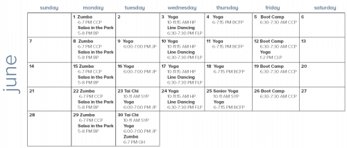 Boston Summer Parks Fitness Calendar June 2015