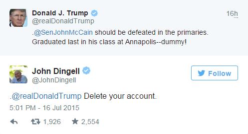 John Dingell, Donald Trump, Twitter, John McCain, Politics