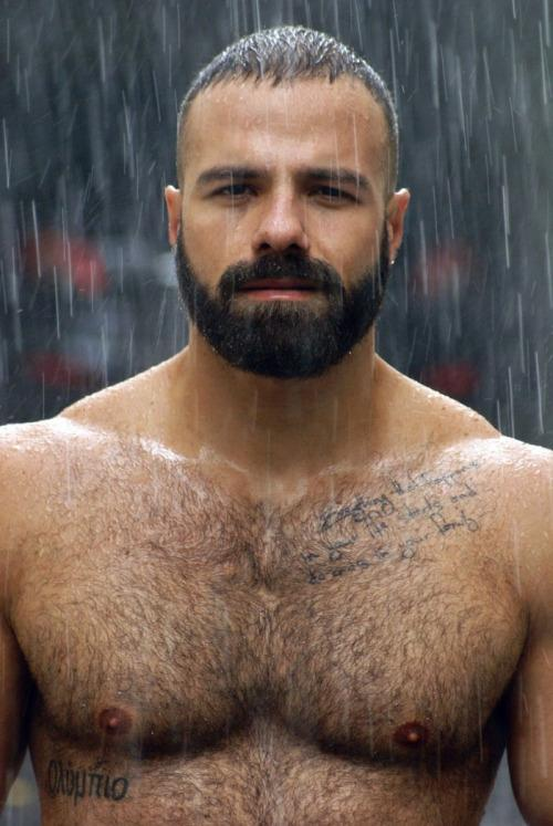 handsome, hunk, muscles, hairy chest