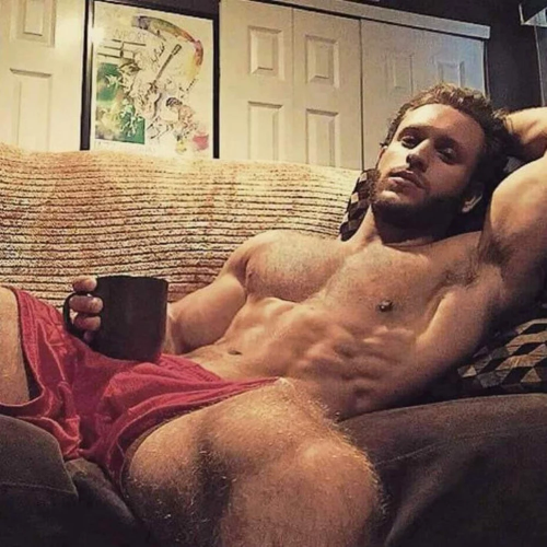 handsome, hunk, hairy, coffee, abs, muscles, hairy, furry