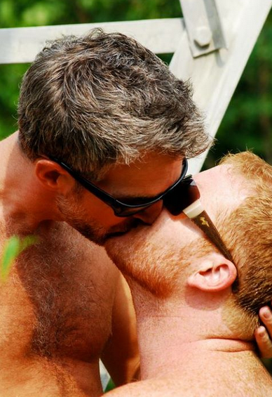 hairy, handsome, hunk, men kissing, kiss