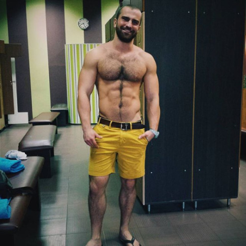 handsome, hairy, hunk, muscles, yellow