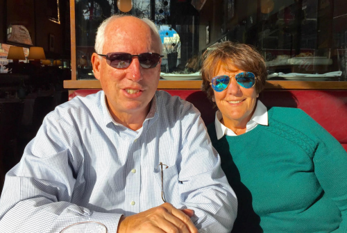 Mom and Dad looking cool at Aquitaine Boston this winter