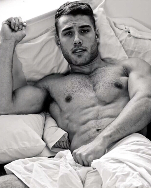 handsome, abs, man in bed, hunk
