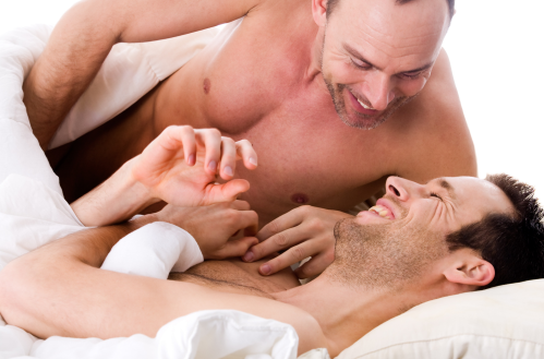 men in bed, gay couple in bed, gay foreplay