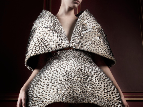 Designed by Iris van Herpen and Neri Oxman, printed by Stratasys, Anthozoa Cape and Skirt, Voltage Haute Couture Collection, 2013. Object Connex multiple-materials; 3-D printed. Museum purchase with funds donated by the Fashion Council. © M. Zoeter x Iris van Herpen. Photography by Ronald Stoops.