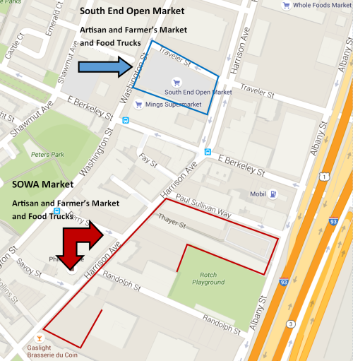 South End and SOWA Open Market Map