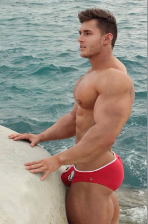 handsome, hunk, red, speedo, muscles