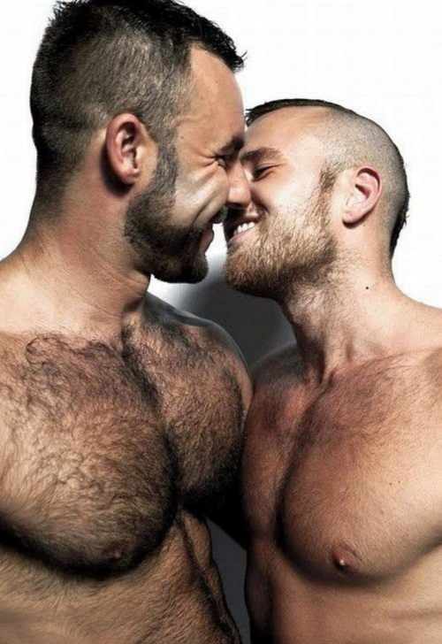 gay couple, handsome, hunk, hairy, furry, kiss