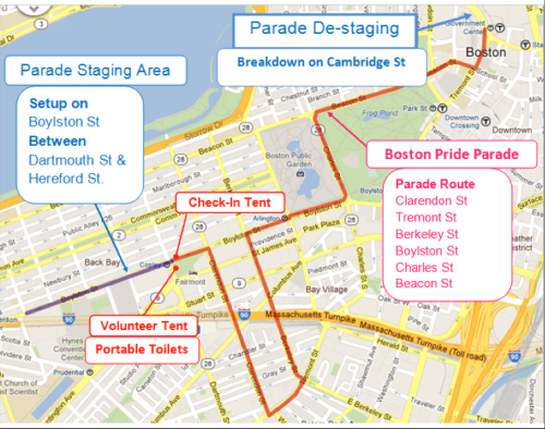 Boston Pride Parade Route