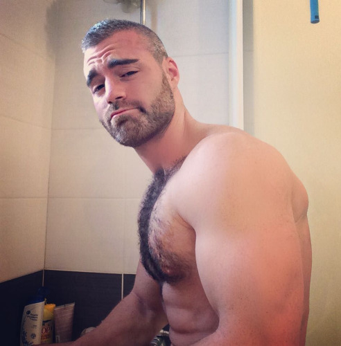 handsome, hunk, hairy, beard, muscles