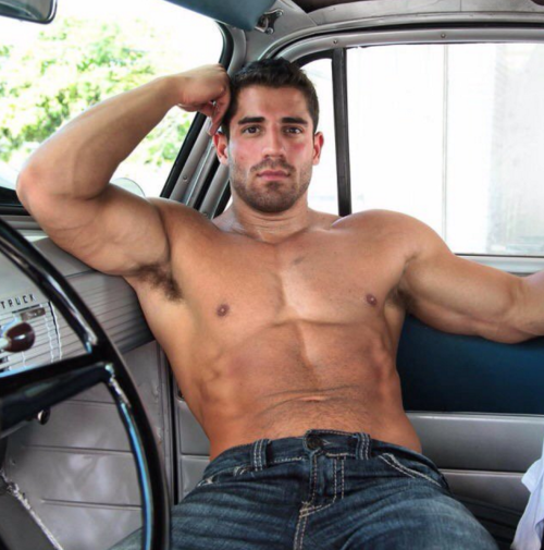 handsome, hunk, man candy, muscles, denim