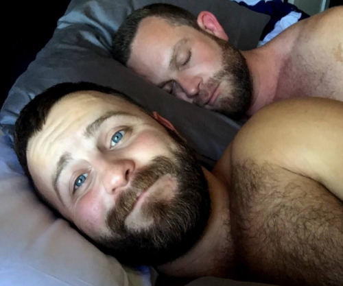 men in bed together, hairy men in bed