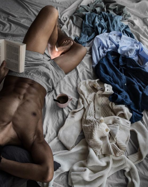 man in bed, muscles