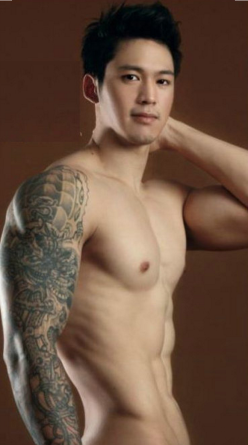 Asian hunk, handsome, tattoo