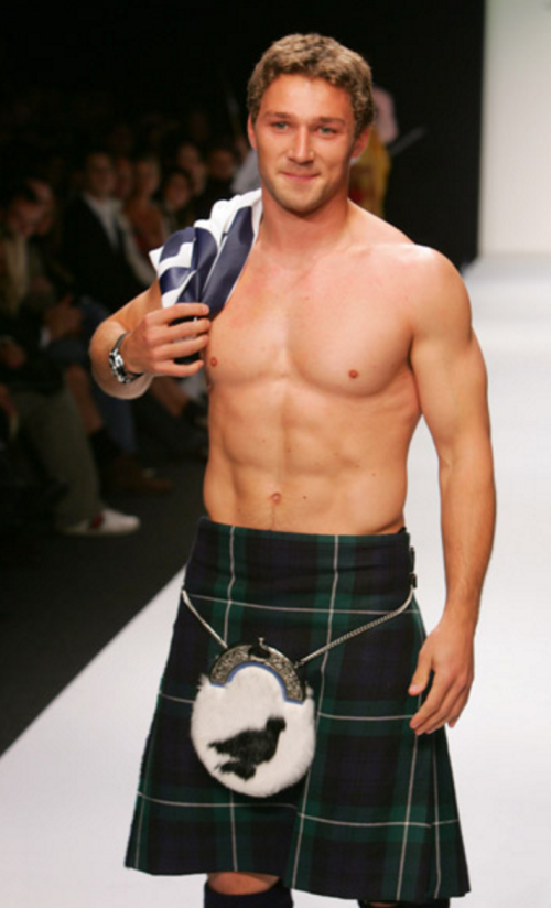 shirtless, handsome, hunk, kilt fashion