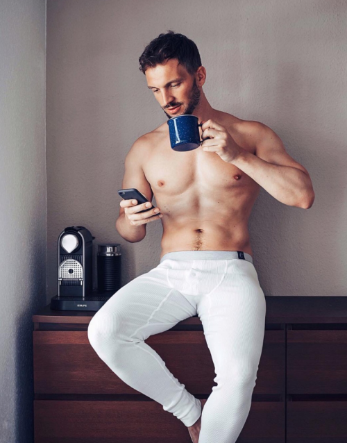 sexy guy, man drinking coffee