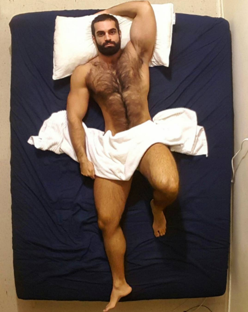 man in bed, hairy, hunk, handsome, furry