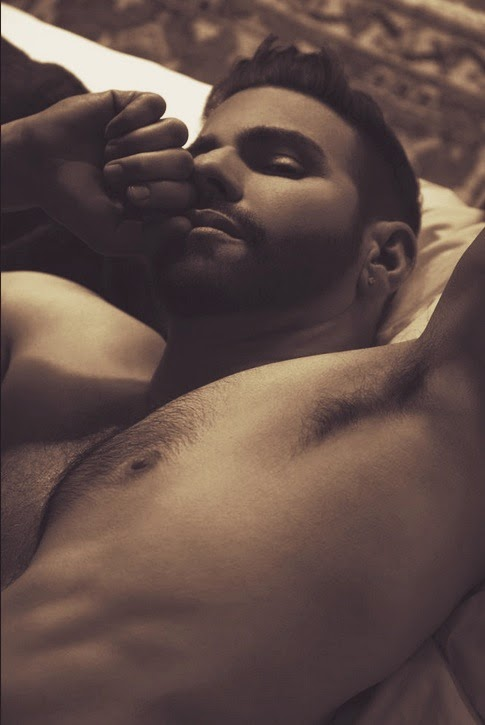 man in bed sleeping, handsome, hunk