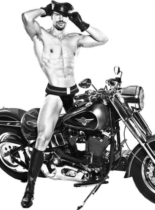 handsome, hunk, motorcycle, jockstrap, leather daddy