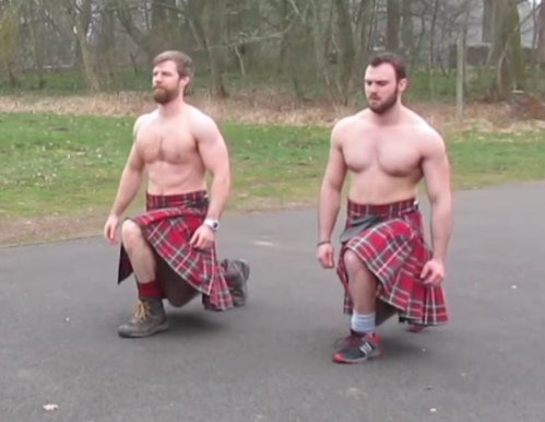 kilted coaches, scots, kilts, exercise, glutes, fitness
